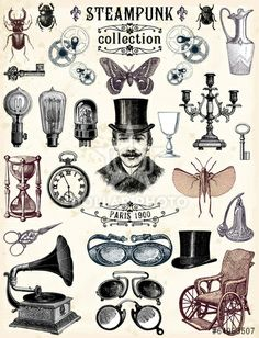 Collection Steampunk - Collection Steampunk You are in the right place about Collection Steampunk Tattoo Design And Style G - Steampunk Drawing, Arte Steampunk, Steampunk Images, Steampunk Crafts, Steampunk Illustration, Victorian Illustration, Vintage Labels, Vintage Ephemera, Vintage Prints