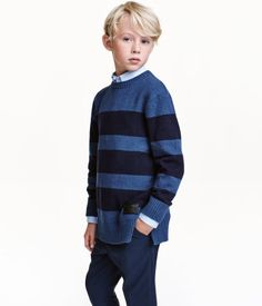 Strikket genser | Mørk blå/Stripet | Barn | H&M NO