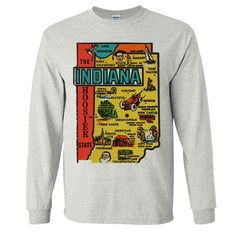 Vintage State Sticker Indiana Long Sleeve Shirt - California Republic Clothes