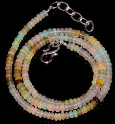 "37CRTS 3.5to4MM 18"" ETHIOPIAN OPAL RONDELLE BEAUTIFUL BEADS NECKLACE OBI3031 #OPALBEADSINDIA"