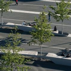 The central area of Bertha Köger Plaza is spatially structured through the use of a grid of trees and eight set-piece sitting islands called Sitztiden elements are an extension of the flowing lines that come into the plaza. The lines of benches that rise up out of the paving in the shape of waves are of different lengths and run next to and around the trees