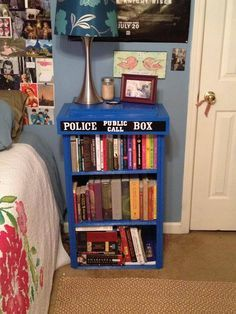 Tardis bookshelf. The fact that it has at least 2 Harry Potter books on it makes it better.