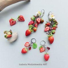 Fruit Flowers, Strawberry Fruit, Flower Earrings, Wire Wrapping, Polymer Clay, Handmade Jewelry, Art, Strawberries, Kunst