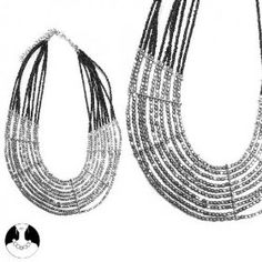 SG Paris Necklace 10 Rows 43 cm Silver and Black Glass Argente Necklace Necklace Metal/Enamel/Strass Winter Women Ethno Glam Fashion Jewelry / Hair Accessories Z Others $10.38