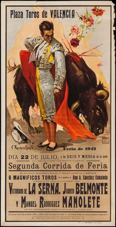 Valencia- Bullring 1943 Valencia- Plaza de Toros 1943 - Art Of Equitation Brave Animals, Mexican Artists, Poster Pictures, Sketch Painting, Antique Photos, Valencia, Vintage Advertisements, Travel Posters, Les Oeuvres