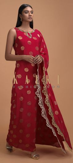 Buy Online from the link below. We ship worldwide (Free Shipping over US$100)  Click Anywhere to Tag Tomato Red Kaftan Tunic In Silk With Brocade Weaved Buttis Online - Kalki Fashion Tomato red kaftan tunic in silk with brocade weaved buttis.Embellished with pita zari on the neckline and fancy lace on the border.