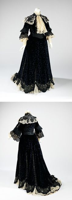 Visiting dress, Jacques Doucet, 1900–1905, French, silk, Worn by a lady of society during her afternoon calls, this dress is an excellent representation of the complexity of surface decoration and lace treatment which are quintessential Belle Époque devices denoting opulence and luxury.