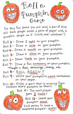 Roll a Pumpkin Game - FREE Printable! - Happy Home Fairy Halloween game for the family to play: roll a pumpkin game. (there's a free printable). Looks adorable. might even do this with small pumpkins. Halloween Tags, Halloween Designs, Halloween Party Games, Theme Halloween, Holidays Halloween, Halloween Printable, Classroom Halloween Party, Haloween Games, Kindergarten Halloween Party
