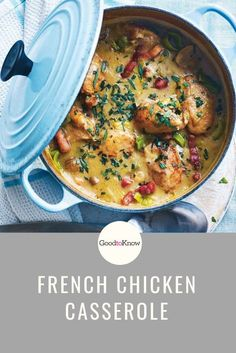 French chicken casserole is a delicious variation of coq au vin, but made with white wine for a lighter finish. This deliciously moreish French chicken casserole recipe takes just 20 minutes to assemble and then it can be left to gently bubble away until it's thick and deliciously rich. #40minutemeals #chickencasserole #deliciouseasydinners