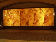 Polished Honey onyx wall panels that line the wall in the Grand Hyatt Elliott Hotel in Seattle add a touch of elegance and pizzazz. Seattle Hotels, Wa Usa, Grand Hyatt, Wall Cladding, Common Area, Restaurant Bar, Natural Stones, Lightning, Photo Galleries