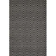 Woven Black & Ivory Diamond Indoor/Outdoor Area Rug