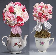 Turn flea market finds into a Teapot Toipiary and Teacup Topiary. Make it for Teacher Appreciation Week or a Mother's Day gift.