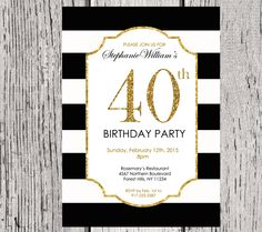 Black and White Adult Surprise Birthday Party Invitation, Birthday for Adult, Gold Glitter, Printable Digital, DIY. https://www.etsy.com/listing/219914620/modern-adult-surprise-birthday-party?ref=shop_home_active_5