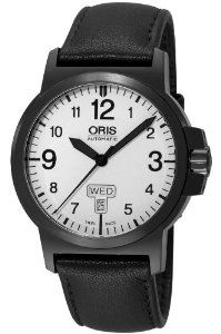 Oris Men's 73576414766LS BC3 Sportsman Day Date Black DLC Case and Leather Strap Watch