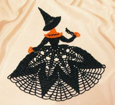 Crochet pattern for a Halloween crinoline girl doily Crochet Quilt, Thread Crochet, Crochet Motif, Crochet Doilies, Crochet Flowers, Knit Crochet, Mode Crochet, Crochet Home, Crochet Crafts