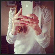 white sweatshirt gold studs by orianne