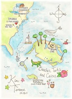 Personalized memory map | Love the soft colors here. | Custom illustrated map