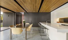 Meals and kitchen - Polished concrete floor and timber ceiling.