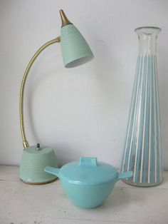 Mid Century Modern Aqua Goose Neck Lamp Atomic by bigfishlilpond, $40.00