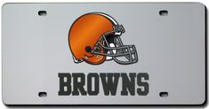 Cleveland Browns License Plate Laser Cut Silver
