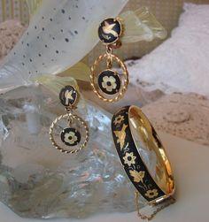Vintage Damascene Bracelet and Matching Drop Earrings by joysshop, $45.00