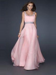 A-line/Princess Ermeløs Floor-length Scoop Stropper Chiffon Dress