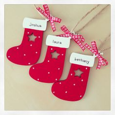 Handcrafted wooden Christmas decorations. Personalised for you. Find me on Facebook - www.facebook.com/jaxinabox Wooden Christmas Decorations, Tree Decorations, Christmas Crafts, Holiday Decor, Wooden Gifts, Christmas Stockings, Scrapbook, Diy Crafts, Facebook