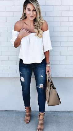 Off Shoulder White Blouse + Ripped Jeans #summeroutfit #white #ad