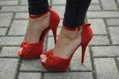 Red open toe ankle strap heels