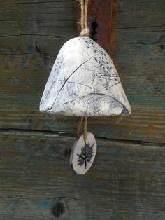 Ceramic Bell With Leaf Design No. 6 by SlashofBlue on Etsy