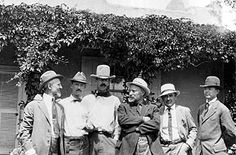 Founders of the Taos Society of Artists at the Couse house, ca. 1915: Joseph Henry Sharp, Ernest L. Blumenschein, W. Herbert (Buck) Dunton, E...
