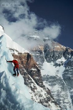 Ice Climbing on Mount Everest. Tibetan name for Mount Everest is Qomolangma