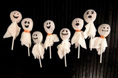 :( My mamaw used to do these every year for her trick or treaters.... she got blow pops or tootsie pops and tied a kleenex on top with a small piece of orange ribbon so cute... i think she glued wiggly eyes on them too