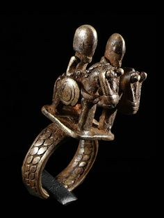 Africa |  Amulet ring with two riders from the Dogon people of Mali | Bronze | ca. 1960