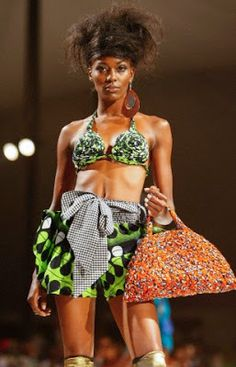 a creation of a fashion brand Nkwo by Nigerian designer Onwuka during the fashion show organized by FAFA (Festival for African Fashion and Arts) at Nairobi National Park in Nairobi, Kenya, 30 October 2010