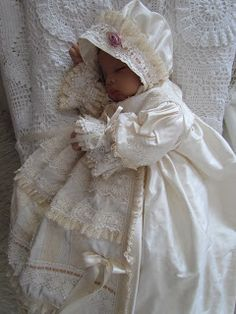 baby memorabilia How sweet this baby sleeps. and if you're thinking my new grand-daughter is here, you would be wrong. This is my baby doll, isn't she swe. Baby Christening Gowns, Baptism Gown, Shabby Chic Baby, Baby Outfits, Kids Outfits, Baptism Party Favors, Baby Blessing, Baby Gown, Heirloom Sewing