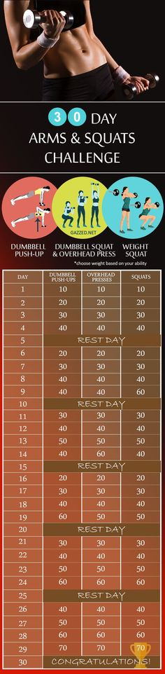 30 day arms and squats challenge Dumbbell Push-up, Squats and overhead press to reduce weight in 30 days. at Home summer work out routine.