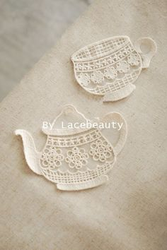 Cream White Cotton Lace Appliques Lovely Cup Teapot Floral Embroidered Tulle Patches Beige Cotton Lace Appliques Lovely Cup Teapot Floral by Lacebeauty Filet Crochet, Crochet Diy, Cotton Crochet, Irish Crochet, Crochet Motif, Cotton Lace, Crochet Doilies, Crochet Flowers, Crochet Patterns