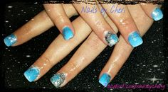 Blue ombre with silver glitter accent on acrylic by Cheri