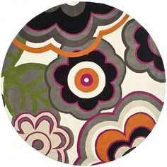 Enhance your home decor with a beautiful rug Contemporary rug will make a stylish, durable addition to your living room, bedroom or dining room Area rug is accentuated by gem tones of black, orange, green, grey and purple