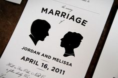 Melissa + Jordan's Modern Silhouette Wedding Invitations