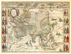 Old antique map of Asia by Blaeu W.& J.   Sanderus Antique Maps