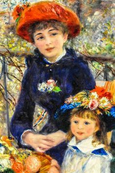 Pierre Auguste Renoir, Two Sisters (On the Terrace), Famous Impressionist artist, Renoir was born in Limoges, France. Renoir Paintings, Impressionist Paintings, Paintings I Love, Beautiful Paintings, Pierre Auguste Renoir, Edouard Manet, Claude Monet, August Renoir, Art Pierre