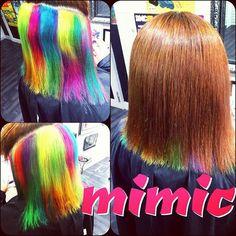 WEBSTA @ mimic_hiroshima - まだらネオンカラー#インナーカラー #ネオンカラー #原色カラー #派手髪 #マニックパニック…
