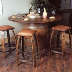 Buy the Vintage Oak Wine Barrel Bistro Table & Bar Stools (Whiskey Finish) at Wine Enthusiast – we are your ultimate destination for wine storage, wine accessories, gifts and more! Whiskey Barrel Coffee Table, Wine Barrel Table, Barrel Bar, Wine Barrel Furniture, Wine Barrels, Wine Table, Wine Cellar, Wine Barrel Crafts, Barris