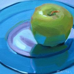 "Daily Paintworks - ""Granny Smith on Blue Plate"" - Original Fine Art for Sale - © Robin Rosenthal"