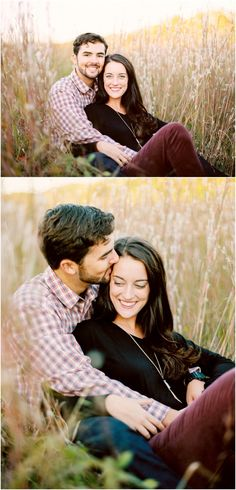 Love these fall engagement photos in tall grass in Knoxville TN