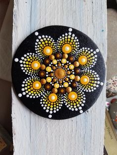 Hand Painted Wood Magnet ~ Mandala ~ Gold ~ Copper ~ Fall ~ Dot Art ~ Handmade ~ Home Decor ~ Fridge Love ~ by Miranda Pitrone by on EtsyHand Painted Wood Magnet ~Acrylics inches in diameter **Great gift ideas**Creative DIY Ideas Painted Rock Patterns to Circle Painting, Dot Art Painting, Rock Painting Designs, Pebble Painting, Pebble Art, Stone Painting, Painting On Wood, Mandala Art, Mandala Canvas