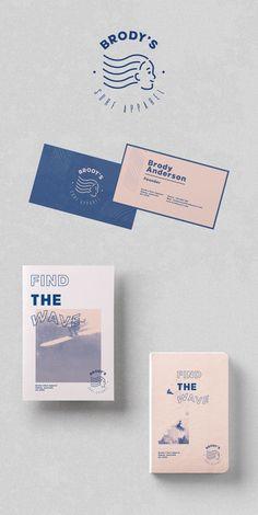 Brody's Surf Brand Apparel Stationery Design Inspiration and Branding Design Concept by Zeka Design. Web Design, Name Card Design, Design Logo, Graphic Design Branding, Food Design, Corporate Identity Design, Identity Card Design, Identity Branding, Design Brochure