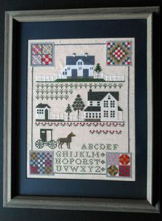 Framed  Amish Sampler Homestead Buggy Alphabet Quilts Counted Cross Stitch